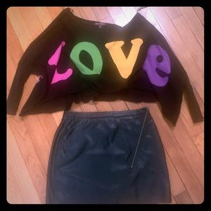 Betsey Johnson crop sweater with black skirt